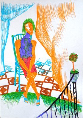Zaure Kadyke: 'fiesta', 1996 Marker Drawing, Life. Artist Description: red rest blue tile woman chair curtains fiesta green heat balcony orange...