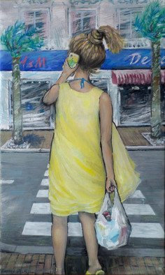 Zaure Kadyke: 'gerls 2018n2', 2018 Oil Painting, People. Artist Description: summer, vacation, woman, yellow, plastic, bag, cellphone, city, crosswalk, attractive, back, mobile, modern...