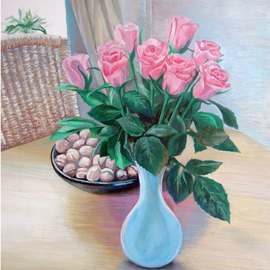 Zaure Kadyke: 'morning roses', 2018 Oil Painting, Still Life. Artist Description: pink, roses, blue, table, vase, walnuts, wooden, morning, chair, foliage, green, nine...