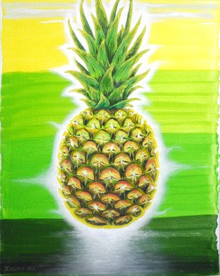 Zaure Kadyke: 'pineapple teleportation', 2019 Oil Painting, Food. Artist Description: picture for interior decoration...