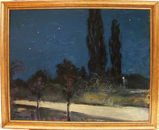 Marton Zavorszky  'Poplars At Night', created in 2015, Original Painting Oil.