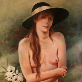 Marsha Bowers: 'Anemone', 2012 Oil Painting, Nudes. Artist Description:  Oil on Canvas...