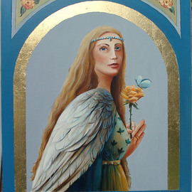 Marsha Bowers: 'Angel Wings', 2009 Oil Painting, Portrait. Artist Description:  Oil on Panel with Gilding ...