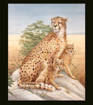 Marsha Bowers: 'Cheetah With Cubs', 2019 Oil Painting, Animals. Oil painting on canvas.  Painting of Cheetah with cubs...