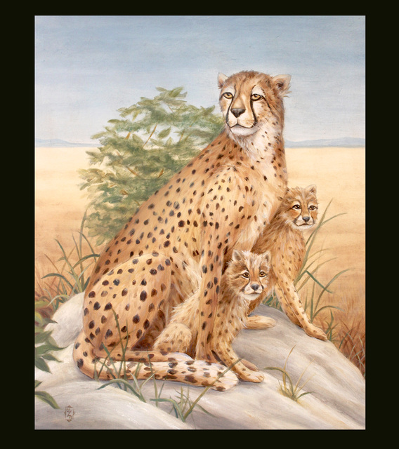 Marsha Bowers  'Cheetah With Cubs', created in 2019, Original Drawing Pencil.