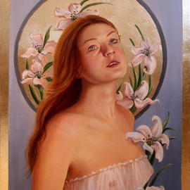 Marsha Bowers: 'Gilded Lily', 2013 Oil Painting, Portrait. Artist Description:  Oil on Canvas with composite gold leaf applied ...