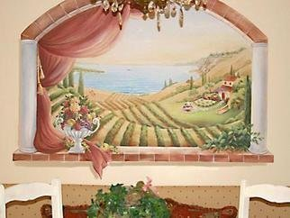 Marsha Bowers: 'Kitchen Mural', 2006 Acrylic Painting, Landscape. Canvas Mural pasted to clients wall.Canvas murals may be painted in my studio and shipped anywhere in the United States.  It is suggested that a professional paper hanger paste the mural.  If interested please contact me.  ...
