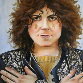 Marsha Bowers: 'Marc Bolan Portrait', 2010 Oil Painting, Portrait. Artist Description:  Portrait of Marc Bolan of T RexOil on Panel with Gold Leaf applied on cheeks as glitter( the artist often times applied glitter to his cheeks)       ...