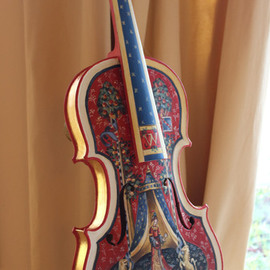 Marsha Bowers: 'Painted Violin', 2015 Other Painting, Other. Artist Description:  Hand Painted and gilded Violin.Title- Unicorn and lady. CommissionPainted with artist oil and inspired from the Unicorn tapestries                 ...