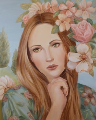 Marsha Bowers: 'fleur', 2020 Oil Painting, Portrait. Inspired by nature and flowersOil on Canvas...