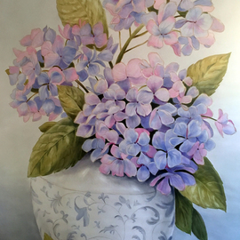 Marsha Bowers: 'hydrangeas', 2019 Oil Painting, Floral. Artist Description: Large scale painting.  Commission for client.  Painted on artist painting wall and to be installed on clients  wall. 5 ft x 4 ft...