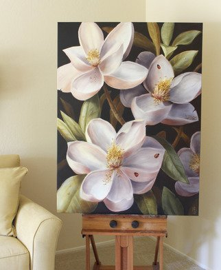 Marsha Bowers: 'magnolias', 2018 Oil Painting, Floral. Artist Description: Oil on canvas, large scale floral painting...