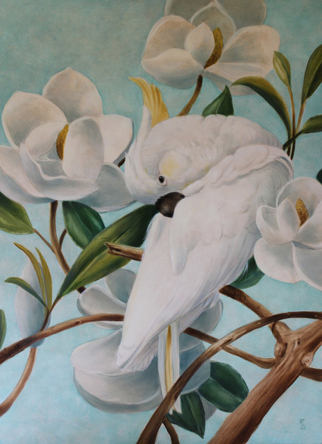 Marsha Bowers  'Parrot With Magnolias', created in 2017, Original Drawing Pencil.