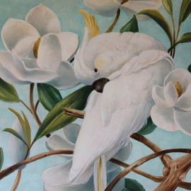 parrot with magnolias  By Marsha Bowers