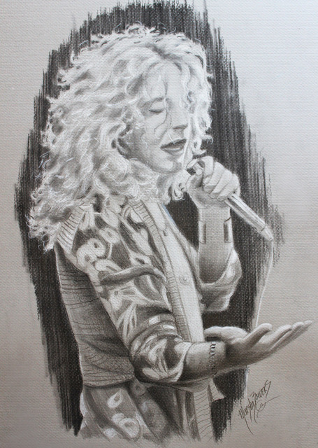 Marsha Bowers  'Sketch- Robert Plant', created in 2017, Original Drawing Pencil.