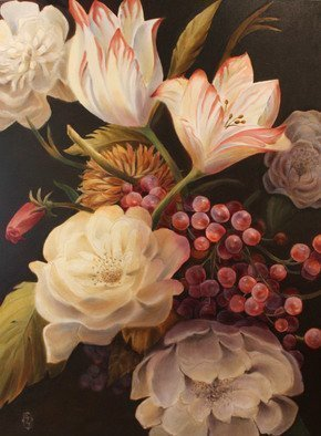 Marsha Bowers: 'winter floral', 2016 Oil Painting, Floral. Artist Description: Large scale floral painting...