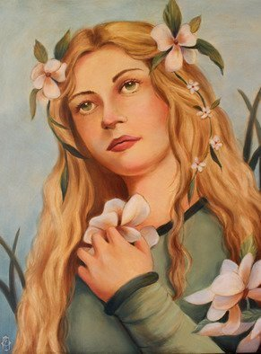 Marsha Bowers: 'within the garden', 2017 Oil Painting, Portrait. Artist Description: Oil on canvas, painting, portrait, contemporary art...