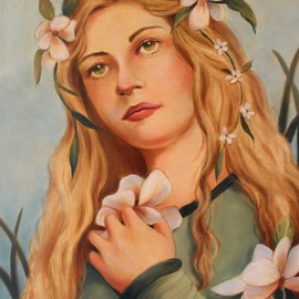 Marsha Bowers Artwork within the garden, 2017 Oil Painting, Portrait