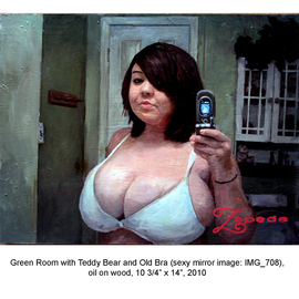 Douglas Cason As Zepeda: 'Green room with Teddy bear and Old Bra sexy mirror image 708', 2010 Oil Painting, Figurative.