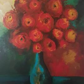 Zhaleh Rasek: 'zh01ras', 2016 Acrylic Painting, Still Life. Artist Description: red roses and cyan ceramic jar in perfect harmony with background wallpaper was true inspiration for me . ...