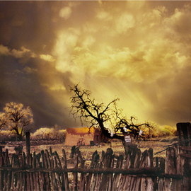 Jack Arnold: 'Joses Place', 2004 Color Photograph, Landscape. Artist Description:   C Print Photograph of a clearing storm at sunset over an adobe house near Santa Fe, New Mexico  ...