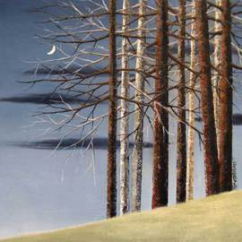 Reza Aghajari: 'a moonlit night', 2012 Oil Painting, Trees.
