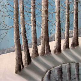 Reza Aghajari: 'winter', 2014 Oil Painting, Trees.