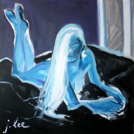 Juris Libeks: 'nude in blue', 2016 Acrylic Painting, Figurative.