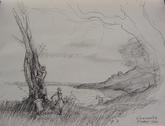 Landscape Charcoal Drawing by Dana Zivanovits Title: AFTER COROT, created in 1986