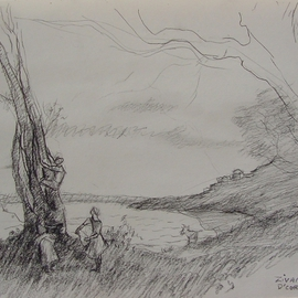 Dana Zivanovits Artwork AFTER COROT, 1986 Charcoal Drawing, Landscape