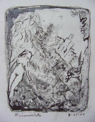Dana Zivanovits: 'ANCIENT ARTIST', 2004 Monoprint, History.  This a mono type pulled from a painted glass plate with drawing in ink and wash on Arches all rag acid free paper- one version only. A signed and dated Zivanovits original. Sheet 10 1/ 2