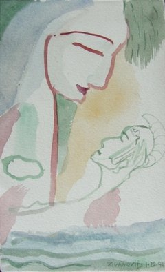 Artist: Dana Zivanovits - Title: ANEAS AND VENUS - Medium: Watercolor - Year: 1991