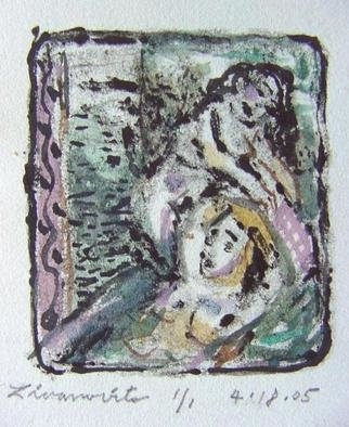 Dana Zivanovits: 'BATH', 2005 Monoprint, nudes. This is a mono type pulled from a painted glass plate on Arches all rag printing paper. One version 1/ 1 - a signed and dated Zivanovits original. Image size is 2