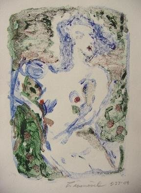 Dana Zivanovits: 'BATHER', 2004 Monoprint, nudes.  A mono type- a one of a kind print pulled from a glass plate. On acid free all cotton Fabriano paper.  A signed Zivanovits original. Image 6