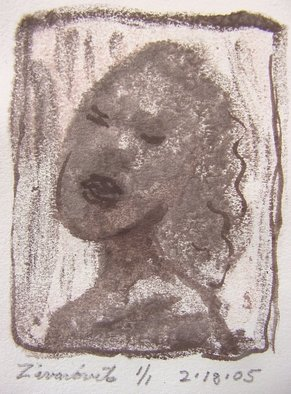 Dana Zivanovits: 'BLUES SINGER', 2005 Monoprint, Music.   This is a mono type pulled from a painted glass plate with watercolor additions. done on all cotton acid free paper- a signed and dated zivanovits original. Image 2 3/ 4