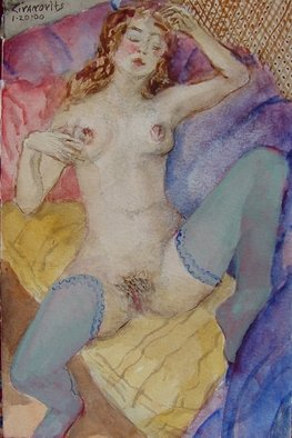 Artist: Dana Zivanovits - Title: BLUE STOCKINGS - Medium: Watercolor - Year: 2000