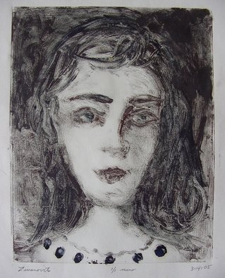Dana Zivanovits: 'BUTTONS', 2005 Monoprint, People.  This is a mono type pulled from a painted glass plate with watercolor additions. Done on all cotton acid free Arche' s paper- a signed and dated zivanovits original. Image 9 1/ 2