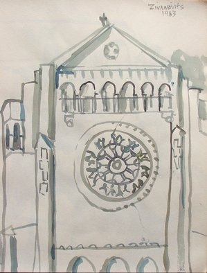 Artist: Dana Zivanovits - Title: CHURCH 3 - Medium: Watercolor - Year: 1983