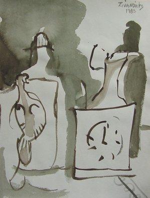 Artist: Dana Zivanovits - Title: CLOCK STILL LIFE - Medium: Watercolor - Year: 1983