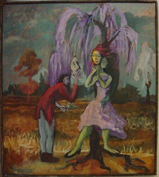 Dana Zivanovits: 'COURTSHIP', 1985 Oil Painting, Romance.    This painting is an early work done in 1985 in oil on stretched linen.  ...