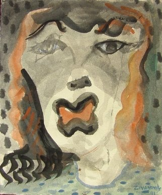 Artist: Dana Zivanovits - Title: CRY BABY - Medium: Watercolor - Year: 1991