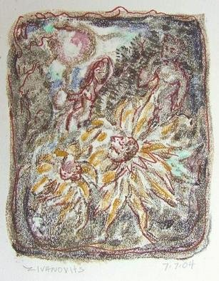 Dana Zivanovits: 'DANCE OF THE FLOWERS', 2004 Monoprint, Fantasy.  This is a mono type pulled from a painted glass plate with watercolor additions on Rives all rag acid free paper. 1/ 1 - a signed and dated Zivanovits original. Image size; 5