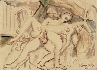Artist: Dana Zivanovits - Title: EROTIC COUPLE - Medium: Watercolor - Year: 1991
