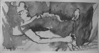 Dana Zivanovits: 'EROTIC INK DRAWING  2', 2001 Ink Painting, Erotic.  India ink on acid free, hand made paper- a signed and dated Zivanovits original. SIZE: 5 1/ 2