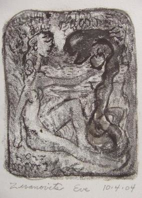 Dana Zivanovits: 'EVE', 2004 Monoprint, Judaic.  This a monotype impression pulled from a painted glass plate and ink drawing on Arches all cotton archival paper- a one of a kind original signed and dated. Image size; 5