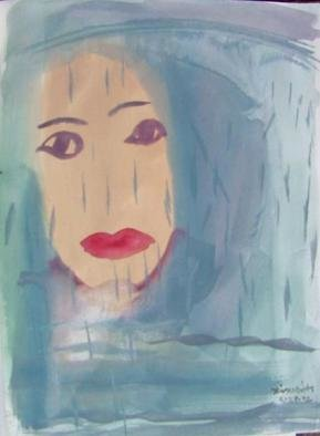 Artist: Dana Zivanovits - Title: FACE IN THE RAIN - Medium: Watercolor - Year: 1998
