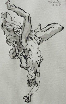 Dana Zivanovits Artwork FALL OF ICARUS, 2007 Ink Painting, Mythology