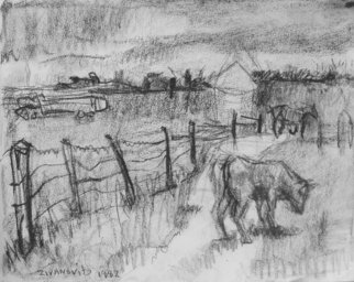 Dana Zivanovits: 'FARM', 1982 Charcoal Drawing, Farm.  A early work in charcoal on sketch paper- a signed and dated Zivanovit's original. ...
