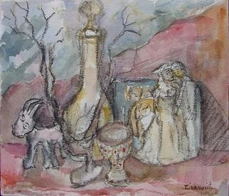 Artist: Dana Zivanovits - Title: FIGURINE STILL LIFE - Medium: Watercolor - Year: 2005