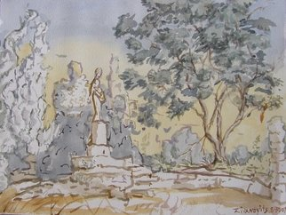 Artist: Dana Zivanovits - Title: FORGOTTEN STATUE - Medium: Watercolor - Year: 2007